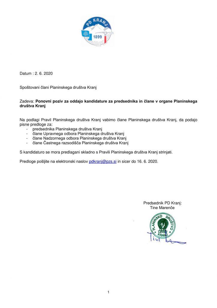 Poziv za predsednika in člane organov PD_2020_2